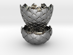 Dragon Egg Game of Thrones - Proposal Ring Box in Polished Silver