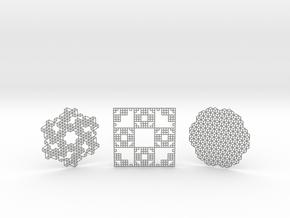 3 Geometric Coasters in Gray PA12