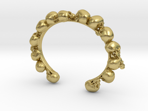 Skull Bracelet  in Natural Brass