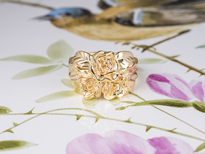 Romantic Rose Flower Swedish Jewelry Women Ring  in 18k Gold Plated Brass: 7 / 54
