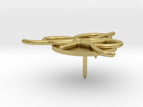 IHES Logo Small Lapel Pin in Natural Brass