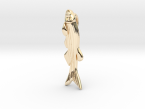 Zebrafish Pendant - Science Jewelry  in 14k Gold Plated Brass