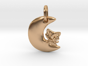 Crescent Moon and Cat Pendant in Polished Bronze