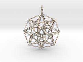 Metatron's Compass 35mm - 4D Vector Equilibrium in Rhodium Plated Brass