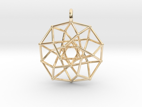 4D Archimedean Hyperform Toroidal Projection w rin in 14k Gold Plated Brass