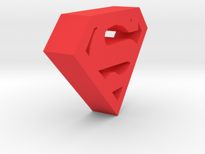 Superman Logo in Red Processed Versatile Plastic