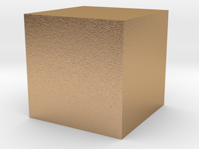 3D printed Sample Model Cube 1.95cm in Natural Bronze