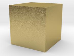 3D printed Sample Model Cube 1cm in Natural Brass