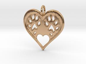 Ferret paw print pendant - precious in Polished Bronze