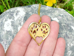 Ferret paw print pendant - precious in 18k Gold Plated Brass