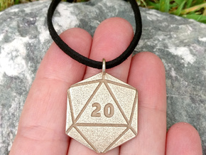 D20 Pendant - Steels in Polished Bronzed-Silver Steel