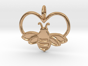 Bee pendant bumblebee necklace heart in Polished Bronze