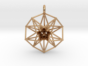 5d hypercube toroidal projection -37mm  in Natural Bronze: Small
