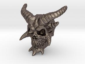 Demon Skull v2  in Polished Bronzed-Silver Steel