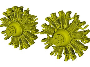1/24 scale Wright J-5 Whirlwind R-790 engines x 2 in Smooth Fine Detail Plastic