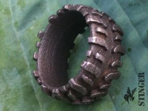 Mud Tire Man Ring in Polished and Bronzed Black Steel: 9.5 / 60.25