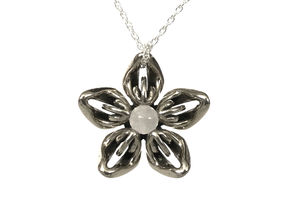 Rose Quartz Transgender Flower Necklace in Polished Bronzed-Silver Steel