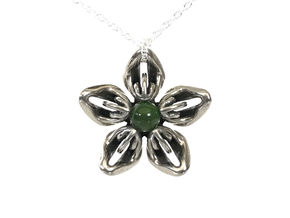Nephrite Jade Transgender Flower Necklace in Polished Bronzed-Silver Steel