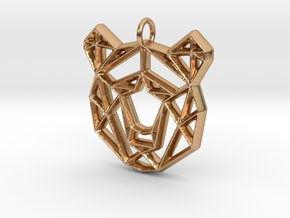 Geometirc Bear Shaped Pendant in Polished Bronze