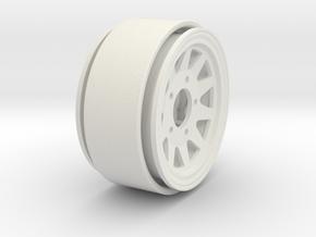 "1.55"" Steel 5 Lug Beadlock Wheel - Positive Offset in White Natural Versatile Plastic"