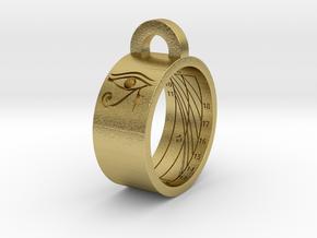 Sundial Ring Necklace Pendant (UK Latitude Model) in Natural Brass