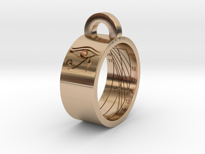 Sundial Ring Necklace Pendant (UK Latitude Model) in 14k Rose Gold