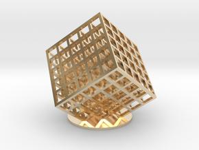 lattice cube 5x5x5 in 14K Yellow Gold
