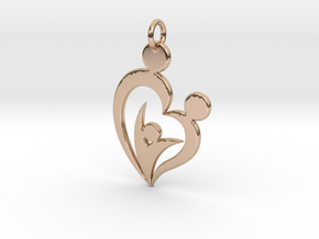Family of Three Heart Shaped Pendant in 14k Rose Gold