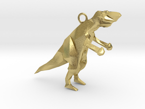 Polygonal Dinosaur in Natural Brass