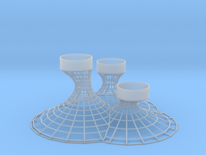 3 Tealights Holder in Smooth Fine Detail Plastic