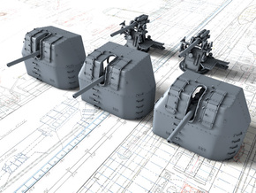 "1/350 RN 4"" MKV P Class Guns Closed Ports x5 in Smoothest Fine Detail Plastic"