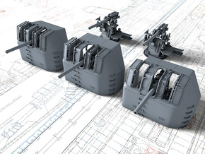 "1/350 RN 4"" MKV P Class Guns x5 in Smoothest Fine Detail Plastic"