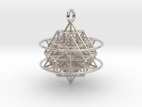 64 Tetrahedron Grid with Boundary Circles in Rhodium Plated Brass