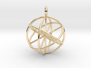seed of life 30mm thin lines in 14k Gold Plated Brass
