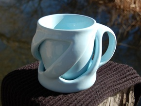 Twist of Fate Mug in Gloss Blue Porcelain
