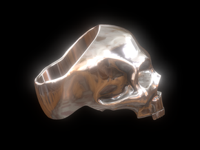 Skull ring in Polished Brass