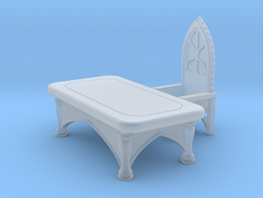 Gothic Desk with Chair. Set 1 in Smooth Fine Detail Plastic