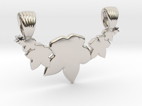 Seven leafs [pendant] in Rhodium Plated Brass