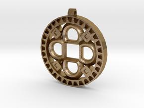 Flower Cross in Polished Gold Steel