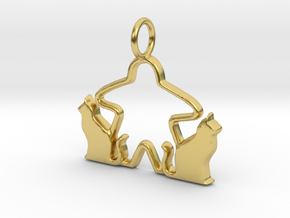 Cat meeple pendant 2 in Polished Brass