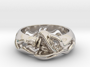 Sea Snake Ring. in Rhodium Plated Brass: 7 / 54