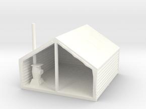 S Scale Miners' / Logger's Tent Cabin in White Processed Versatile Plastic