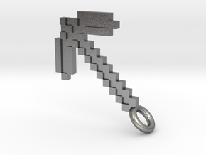Minecraft Pickaxe Pendant in Natural Silver