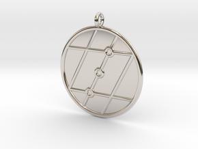 Geometry Symbol in Rhodium Plated Brass