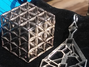 "3-D FLOWER OF LIFE ""META-CUBE"" in Polished Bronzed Silver Steel"