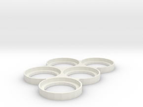 Five Man 40mm movementray Skelontonized  in White Natural Versatile Plastic