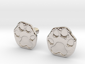 Cats Paw Earring in Rhodium Plated Brass