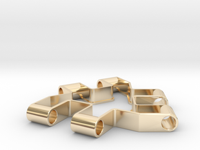 Material test part 1/2, Modular building block in 14k Gold Plated Brass