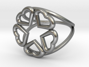 Hearts Hidden Pentacle Ring in Natural Silver: 11 / 64