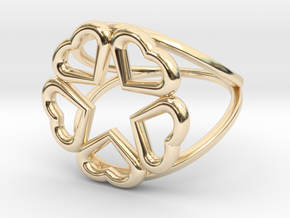 Hearts Hidden Pentacle Ring in 14k Gold Plated Brass: 11 / 64